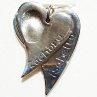 Double Decending Silver Heart Fingerprint pendants