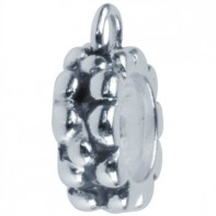 Oxidised sterling silver carrier bead. Fingerprint charm carrier bead. Ideal for pandora style bracelets.