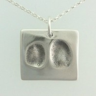 Double Fingerprint on a Square Pendant Jewellery