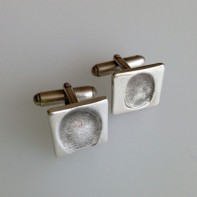 Silver Fingerprint Cufflinks. A square set of fingerprint cufflinks, a perfect gift for any occasion for dad, grandad or brother. Handmade by SilverEdge Designs Southampton
