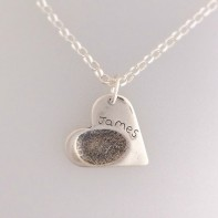 Silver Fingerprint Heart Pendant Belcher chain Jewellery