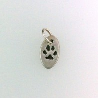Silver Oval Charm with Paw Print