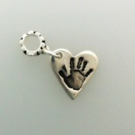 Silver heart handprint charm carrier bead jewellery