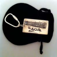 A silver doodle artwork keyring with a handwritten message, by SilverEdge Designs, Southampton.