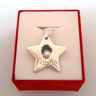 A silver star fingerprint personalised jewellery gift. By SilverEge Designs. Christmas Gift